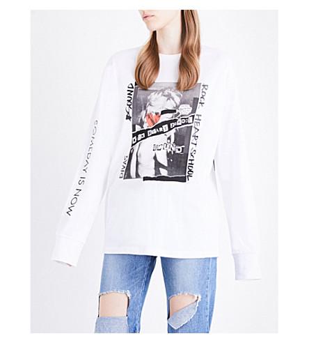 SJYP Graphic-print cotton-jersey sweatshirt (White+01w