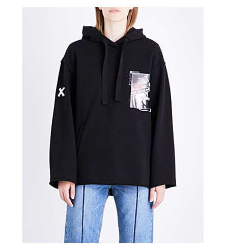 SJYP Graphic-print cotton-jersey hoody (Black