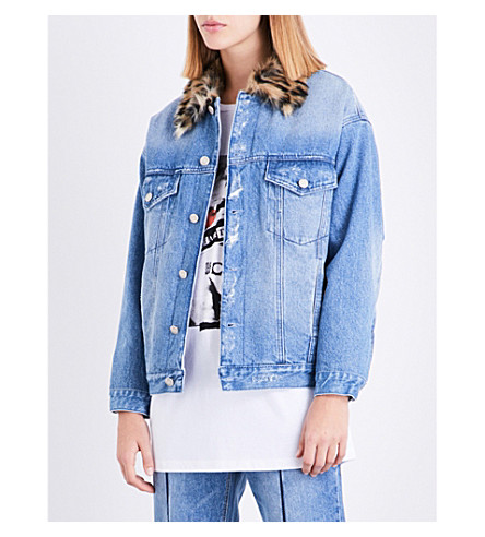SJYP Leopard faux-fur collar denim jacket (Denim+blue+0033
