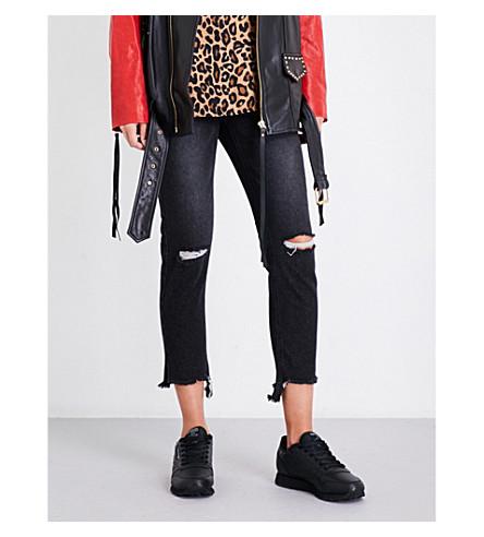 SJYP Frayed-hem slim-fit tapered high-rise jeans (Black+0090