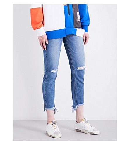 SJYP Frayed-hem slim-fit tapered high-rise jeans (Denim+blue+0033