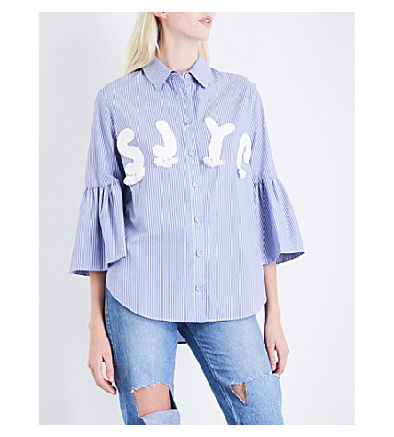 SJYP Logo-appliquéd striped cotton shirt (Blue+0031