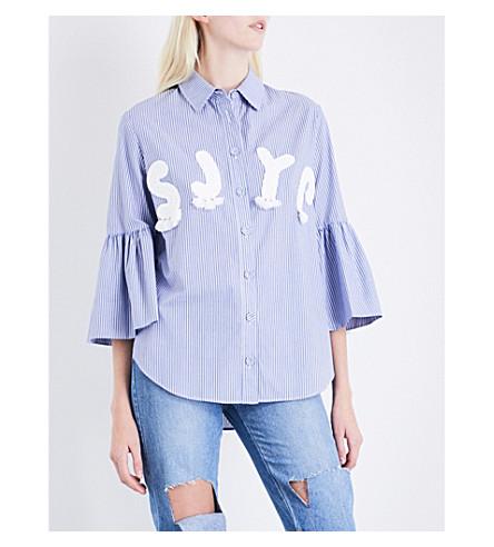 SJYP Logo-appliquéd striped cotton shirt (Blue+0031