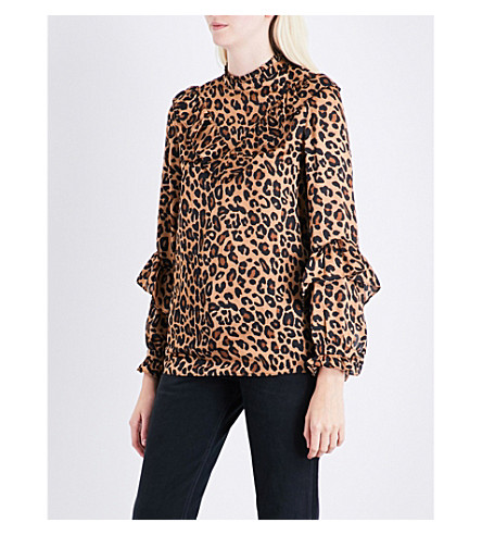 SJYP Leopard-pattern satin blouse (Dark+beige+o012
