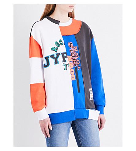 SJYP Hybrid cotton-jersey sweatshirt (White+01w-