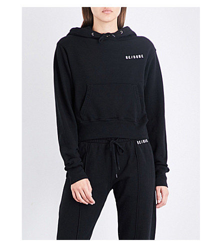 RE/DONE Cropped cotton-jersey hoody (Jet+black