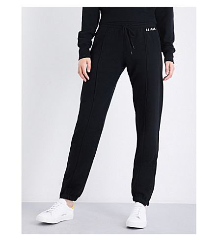 RE/DONE Tapered cotton-jersey jogging bottoms (Jet+black