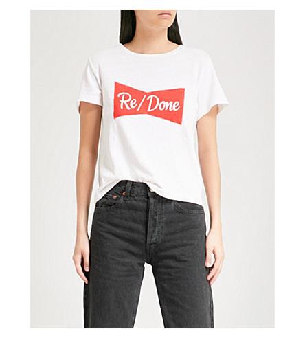 RE Vintage white RE DONE DONE cotton jersey shirt T Ribbon 6Fd1dxwq7