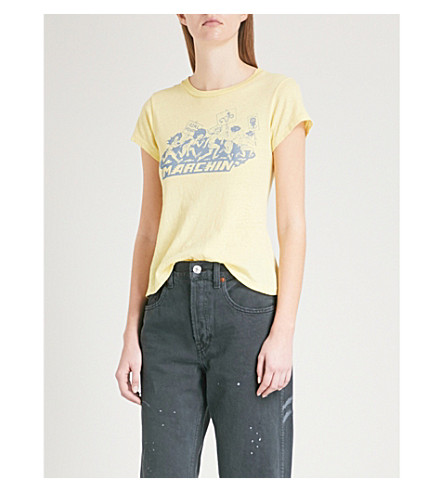 RE/DONE Marchin cotton-jersey T-shirt (Sunflower+yellow