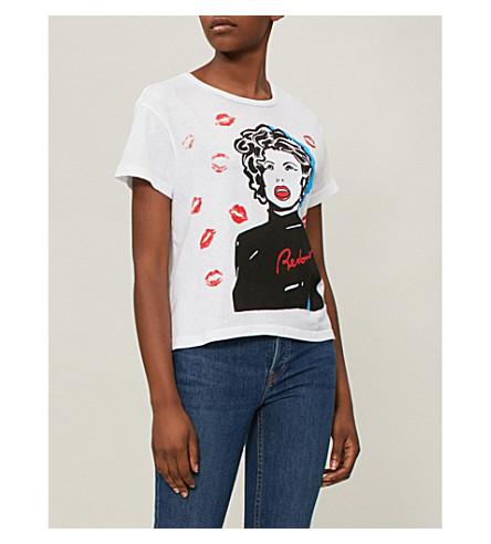 algodón DONE Óptica RE Camiseta de jersey blanca de estampada WPxqqndX0