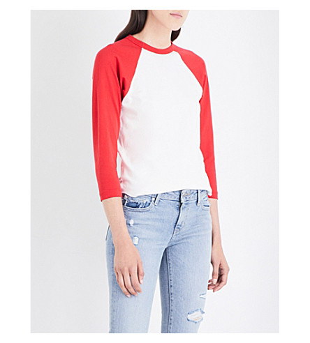 RE/DONE The Baseball cotton-jersey top (Vintage+white/red