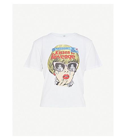 RE/DONE Kisses for Revenge cotton-jersey T-shirt (Optic+white