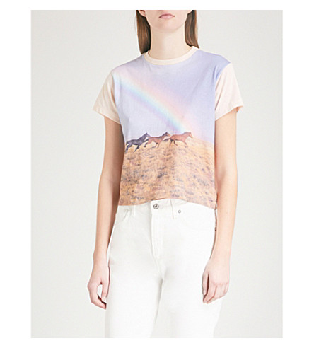 RE/DONE Horse and rainbow-print cotton-jersey T-shirt (Pink+graphic