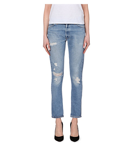 RE/DONE Distressed straight mid-rise jeans (Heavy+destruction