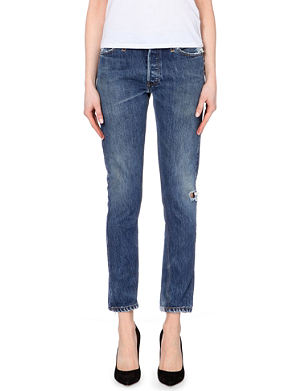 RE/DONE Distressed straight mid-rise jeans