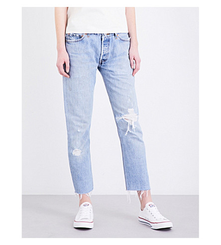 RE/DONE Released-hem straight high-rise jeans (Destruction