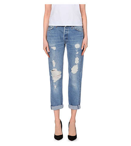 RE/DONE Relaxed slim-fit mid-rise jeans (Heavy+destruction