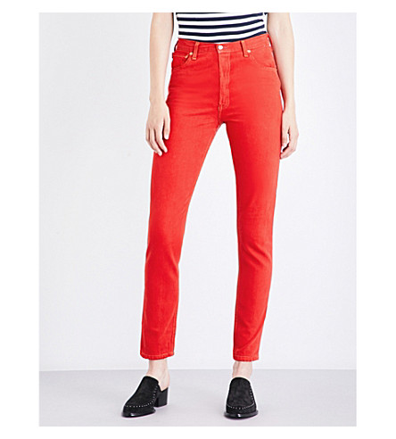 RE/DONE Straight high-rise jeans (Red