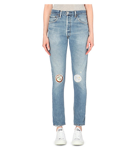 RE/DONE Patch-detail straight high-rise jeans (Indigo