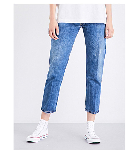 RE/DONE Straight cropped high-rise jeans (Destruction