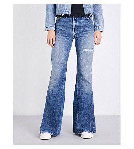 RE/DONE Flared high-rise jeans (Indigo