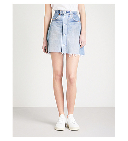 RE/DONE High-rise denim skirt (Indigo