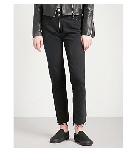 RE/DONE Frayed-hem slim high-rise jeans (Black