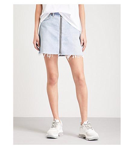 RE/DONE Frayed-hem high-rise denim skirt (Indigo