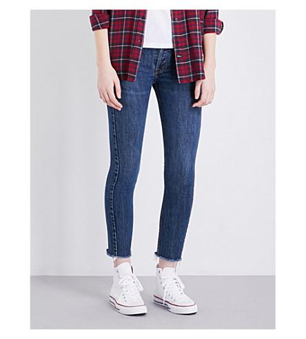 RE/DONE Frayed-hem skinny high-rise jeans (Dark+wash