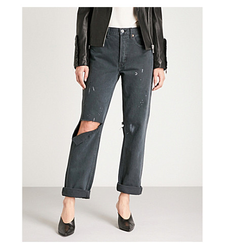 RE/DONE Distressed straight high-rise jeans (Black+dirty+destroy