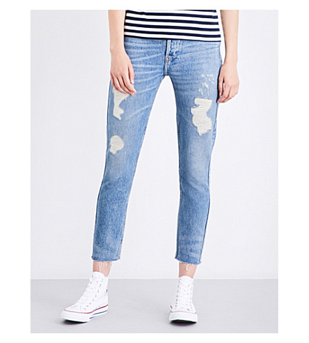 RE/DONE Distressed skinny cropped high-rise jeans (Medium+destroy
