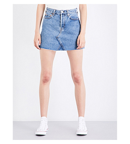 RE/DONE High-waisted distressed denim mini skirt (90s+wash