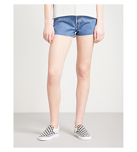 RE/DONE Frayed-hem mid-rise denim shorts (Seventies+as+fuck