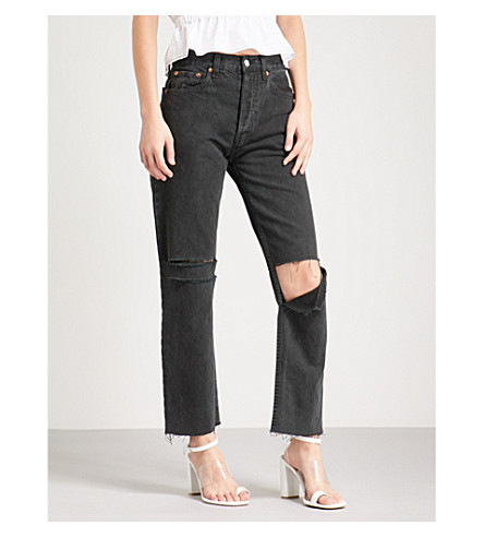 RE/DONE Distressed straight high-rise jeans (Washed+blk+w/rip