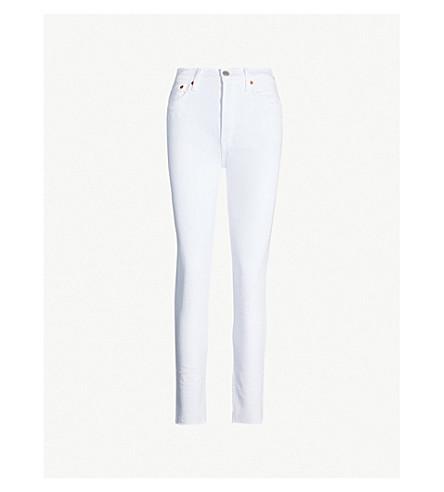 RE/DONE Raw-hem high-rise skinny jeans (White