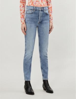 High-rise tapered stretch-denim jeans