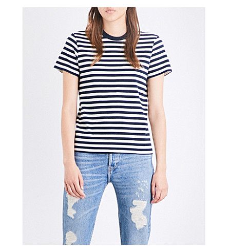 RE/DONE Striped Ringer cotton-jersey T-shirt (Navy/natural