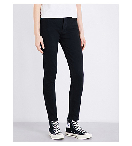RE/DONE Frayed-hem high-rise straight leg jeans (Black