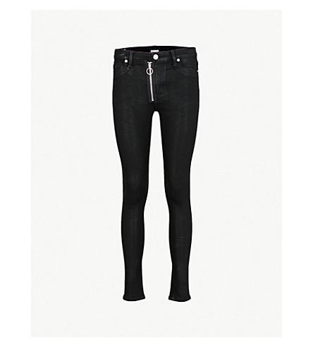HUDSON JEANS Barbara coated skinny high-rise jeans (Black+coated