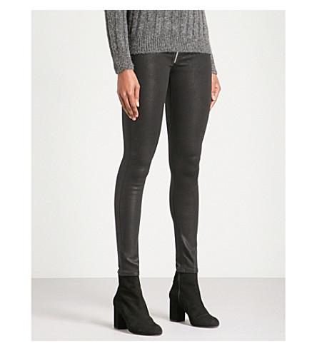 HUDSON JEANS 芭芭拉涂紧身高腰牛仔裤 (黑色 + 涂层