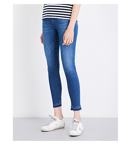 HUDSON JEANS Barbara released-hem skinny high-rise jeans (Blue+riot