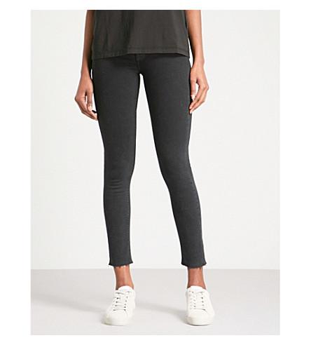 HUDSON JEANS Barbara frayed-hem skinny high-rise jeans (Maniac