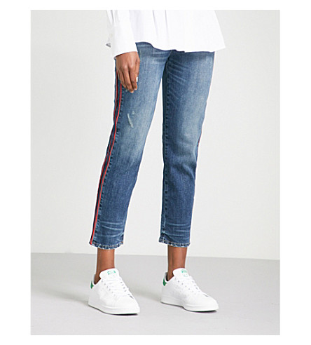 HUDSON JEANS Zoeey contrast-piping straight mid-rise jeans (Reform