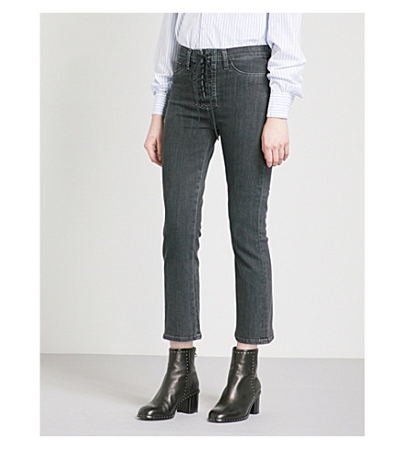 HUDSON JEANS Bullocks lace-up bootcut cropped jeans (Disarm