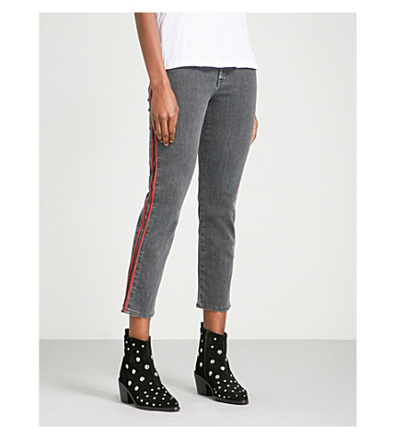 HUDSON JEANS Zoeey contrast-piping straight mid-rise jeans (Hone