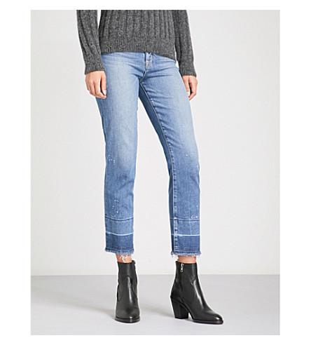 HUDSON JEANS Zoeey frayed-hem straight high-rise jeans (Far++away