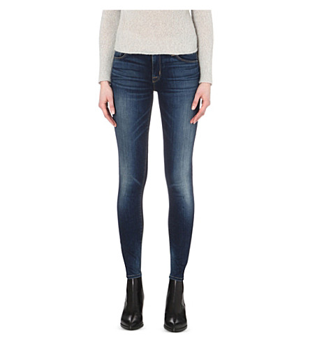 HUDSON JEANS Nico super-skinny mid-rise jeans (Blue+gold
