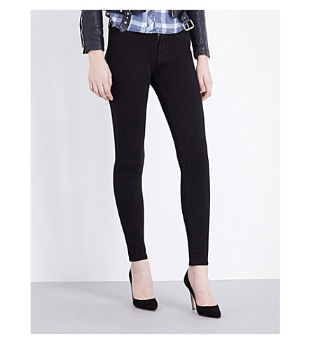 HUDSON JEANS Nico super-skinny mid-rise coated jeans (Black