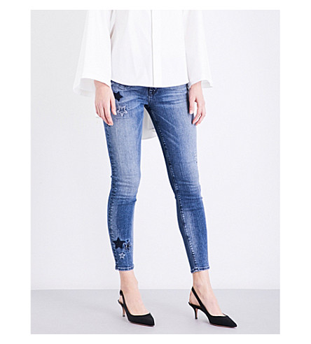 HUDSON JEANS Nico embroidered super-skinny cropped mid-rise jeans (Stargazing