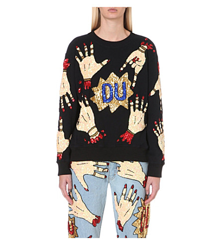 DISCOUNT UNIVERSE Sequin-embellished cotton-jersey sweatshirt (Black